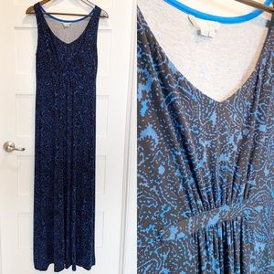 BODEN Maxi Dress Paisley Blue & Black Tall 10 Long